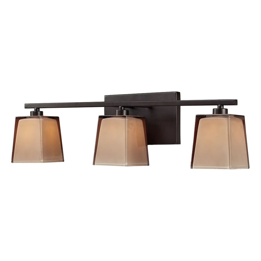 Bronze Vanity Lights With Clear Glass : Shop Westmore Lighting Wicomico 3-Light 7-in Oiled Bronze and Tan Glass Vanity Light at Lowes.com