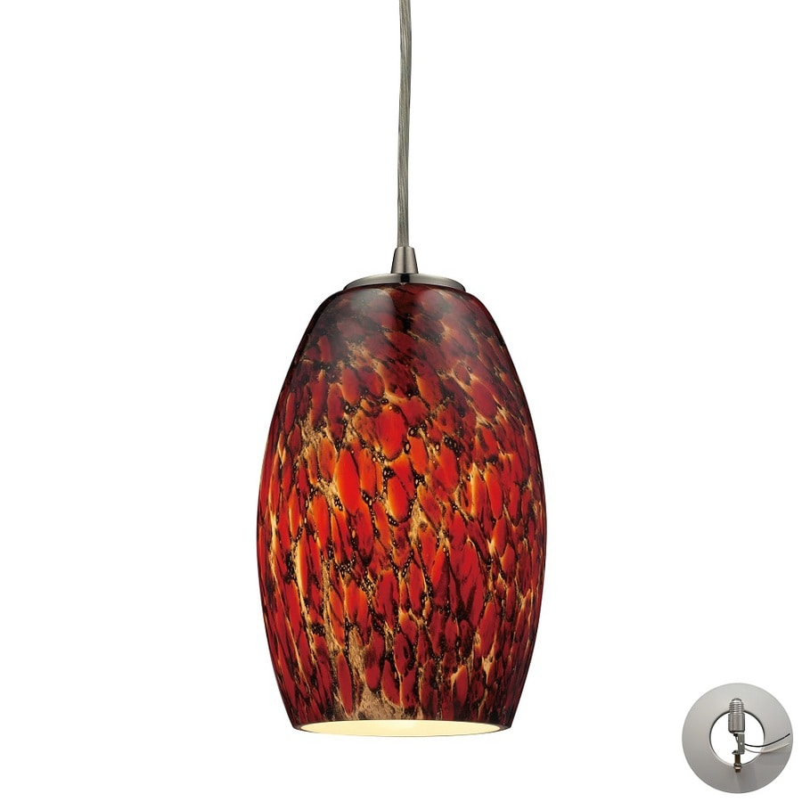 Westmore Lighting Moala 5-in Satin Nickel and Ember Glass Mini Tinted Glass Teardrop Pendant