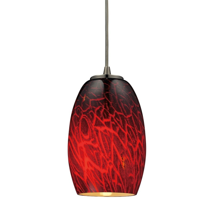 Westmore Lighting Moala 5-in Satin Nickel and Firebrick Glass Mini Tinted Glass Teardrop Pendant
