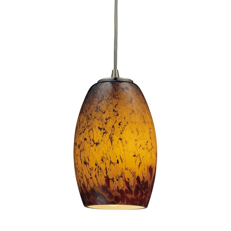 Westmore Lighting Moala 5-in Satin Nickel and Sunset Glass Mini Tinted Glass Teardrop Pendant