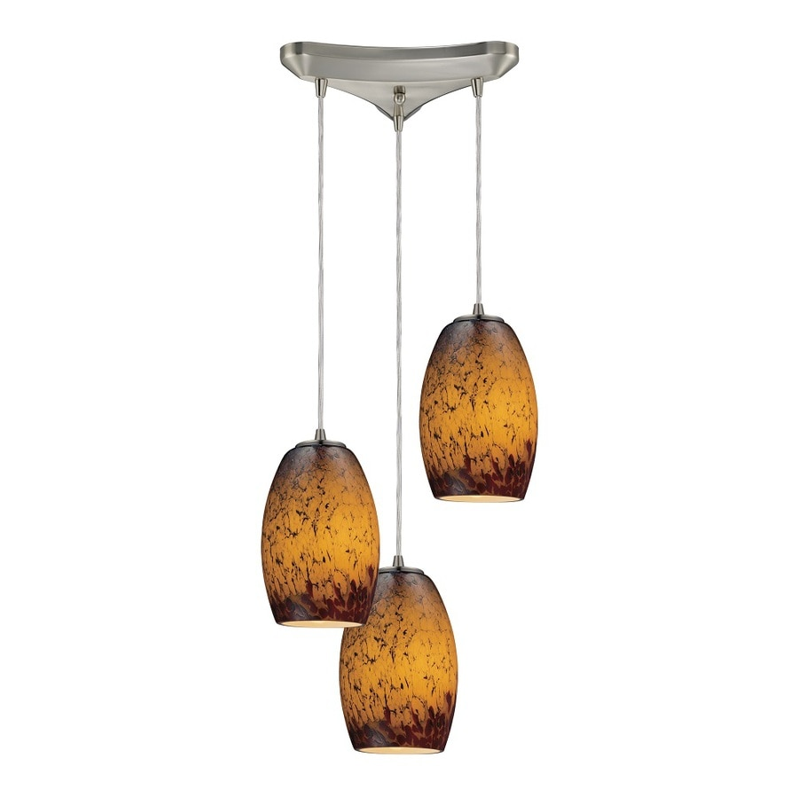Westmore Lighting Moala 10-in Satin Nickel and Sunset Glass Mini Tinted Glass Teardrop Pendant