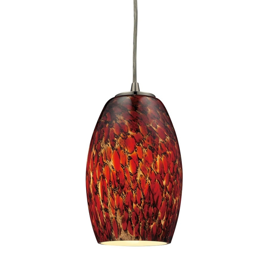 Westmore Lighting Moala 10-in Satin Nickel and Ember Glass Mini Tinted Glass Teardrop Pendant