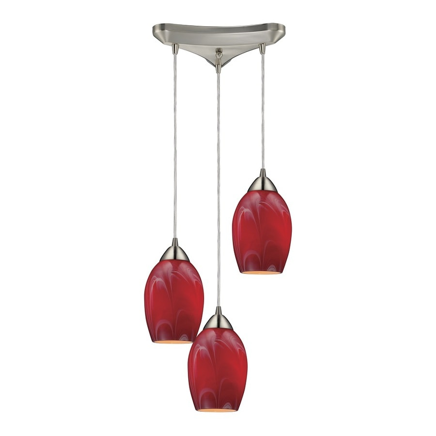 Westmore Lighting Kapiti 10-in Satin Nickel and Cherry Glass Mini Tinted Glass Teardrop Pendant