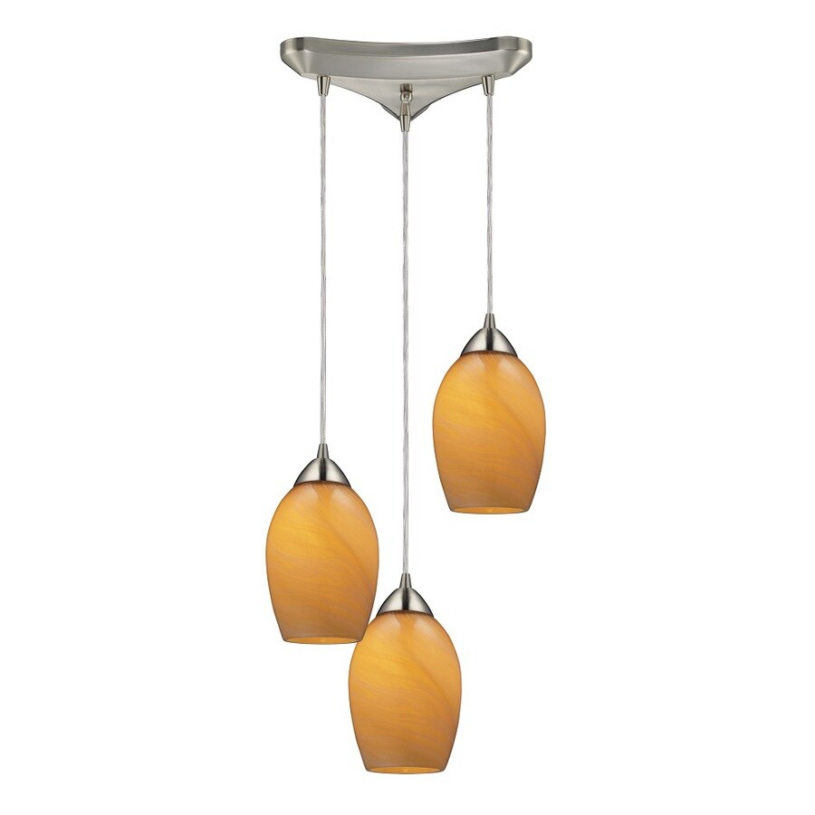 Westmore Lighting Kapiti 10-in Satin Nickel and Honey Melon Glass Mini Tinted Glass Teardrop Pendant