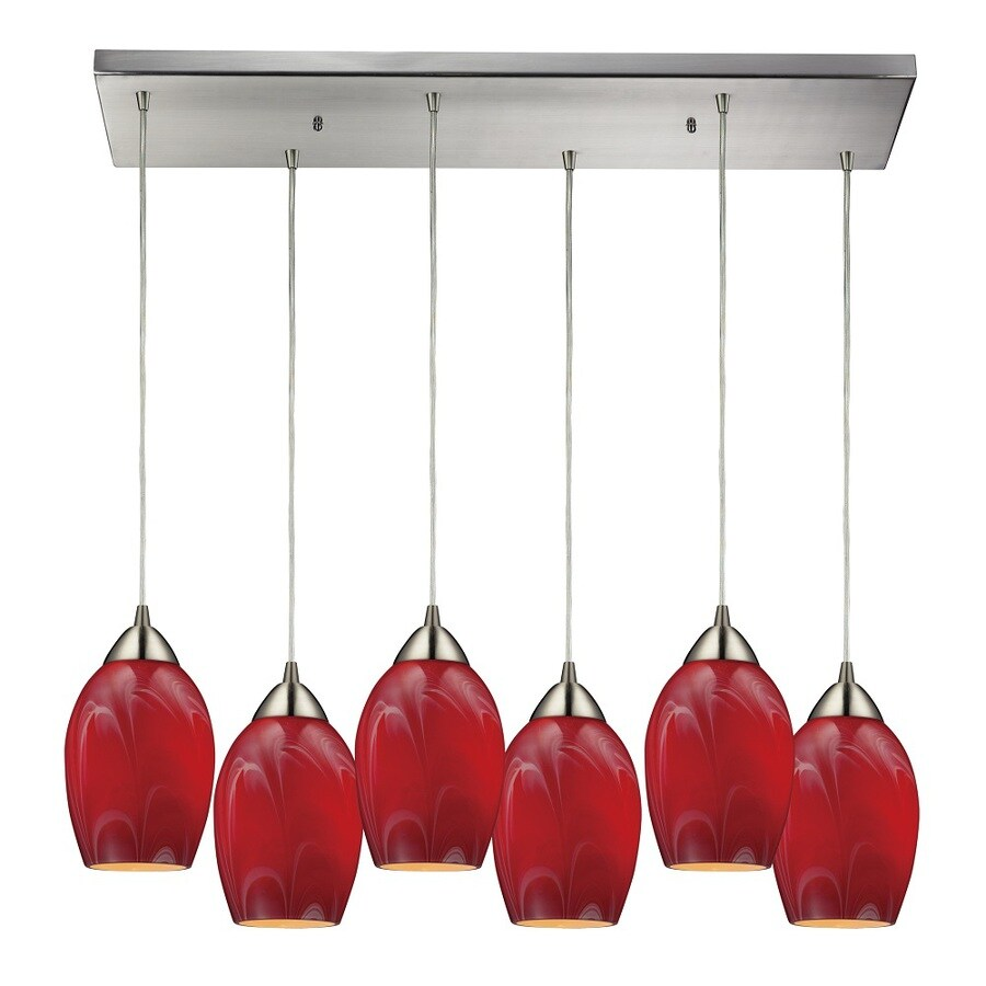 Westmore Lighting Kapiti 30-in Satin Nickel and Cherry Glass Mini Tinted Glass Teardrop Pendant