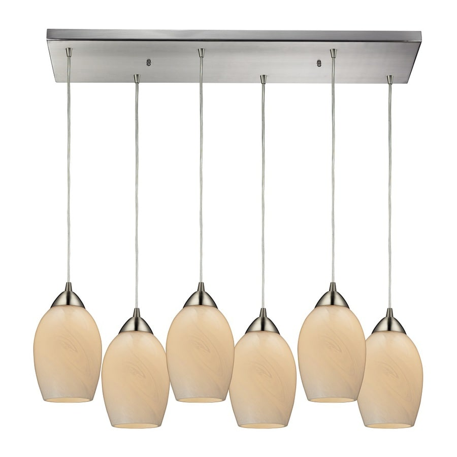 Westmore Lighting Kapiti 30-in Satin Nickel and Coconut Glass Mini Tinted Glass Teardrop Pendant