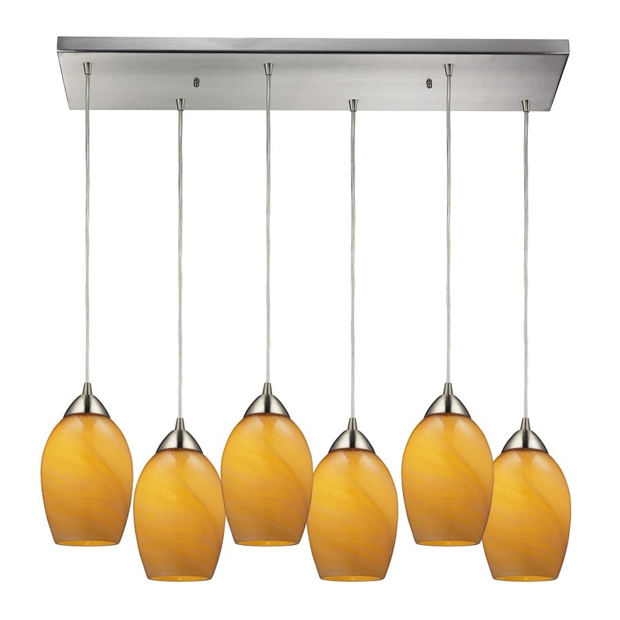Westmore Lighting Kapiti 30-in Satin Nickel and Honey Melon Glass Mini Tinted Glass Teardrop Pendant
