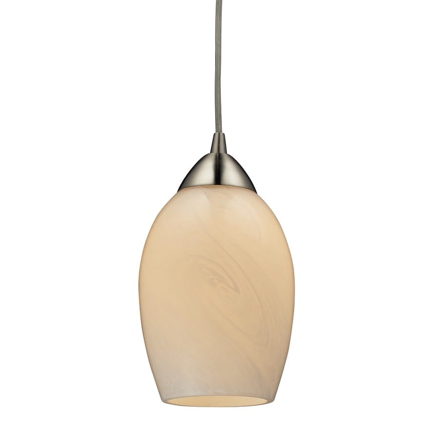 Westmore Lighting Kapiti 5-in Satin Nickel and Coconut Glass Mini Tinted Glass Teardrop LED Pendant
