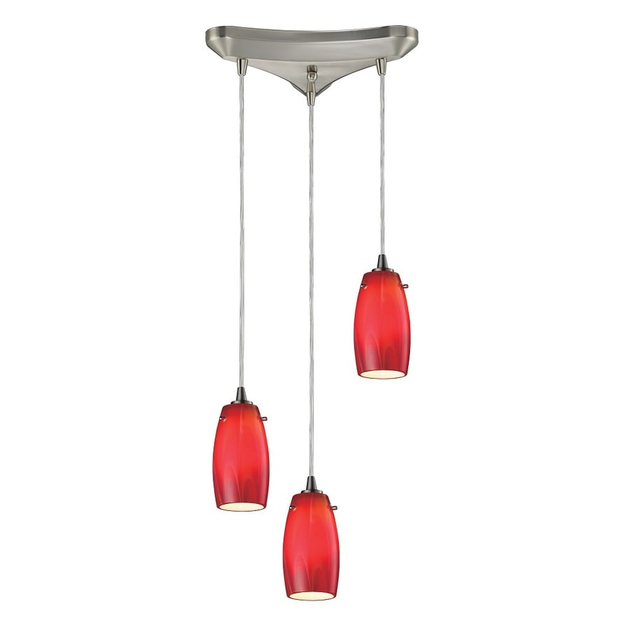 Westmore Lighting Petani 10-in Satin Nickel and Cherry Glass Mini Tinted Glass Teardrop Pendant
