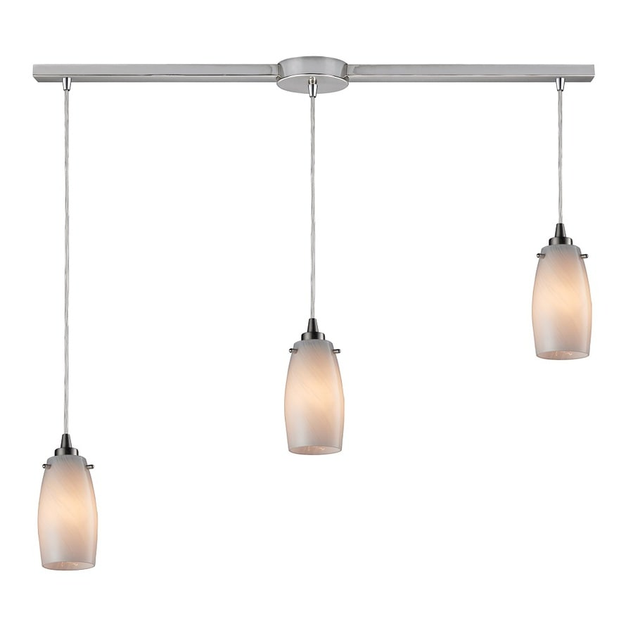 Westmore Lighting Petani 36-in Satin Nickel and Coconut Glass Mini Tinted Glass Teardrop Pendant
