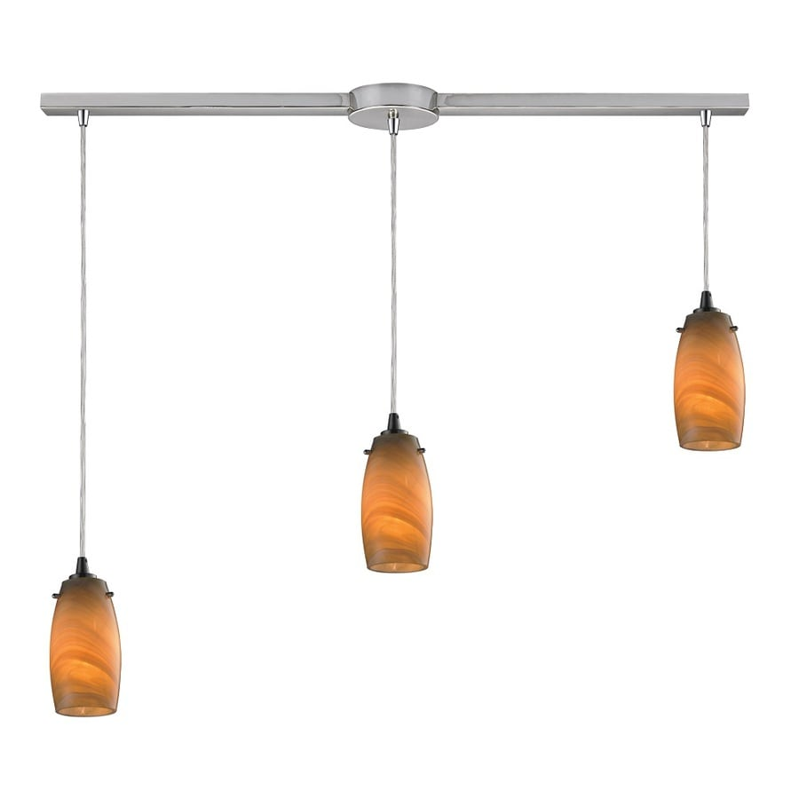 Westmore Lighting Petani 36-in Satin Nickel and Honey Melon Glass Mini Tinted Glass Teardrop Pendant