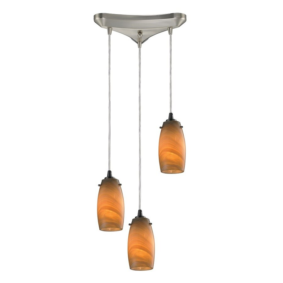 Westmore Lighting Petani 10-in Satin Nickel and Honey Melon Glass Mini Tinted Glass Teardrop Pendant
