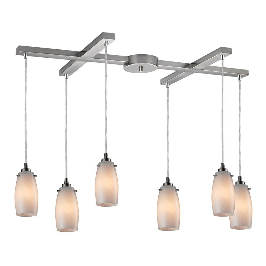 Westmore Lighting Petani 33-in Satin Nickel and Coconut Glass Mini Tinted Glass Teardrop Pendant