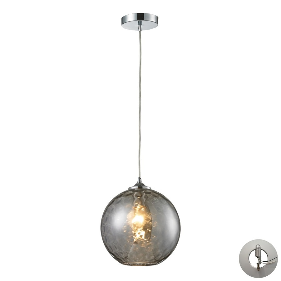 Westmore Lighting Lochmere 10-in Polished Chrome and Smoke Glass Mini Tinted Glass Globe Pendant