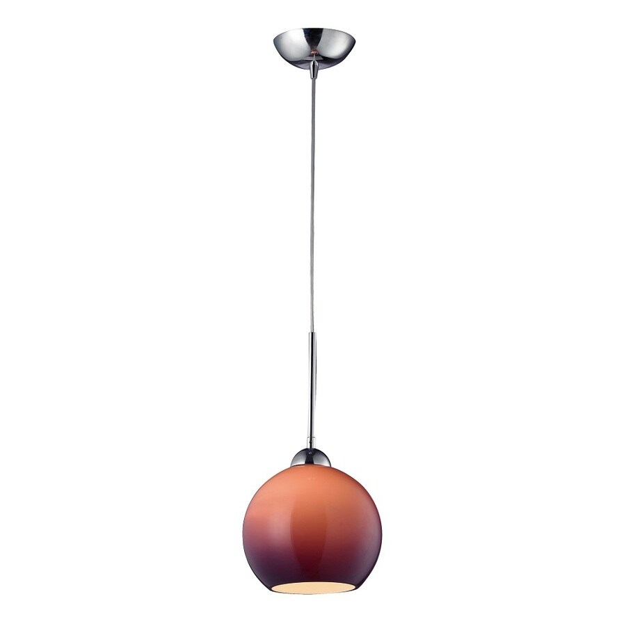 Westmore Lighting Swancott 8-in Polished Chrome and Purple Glass Mini Tinted Glass Globe Pendant