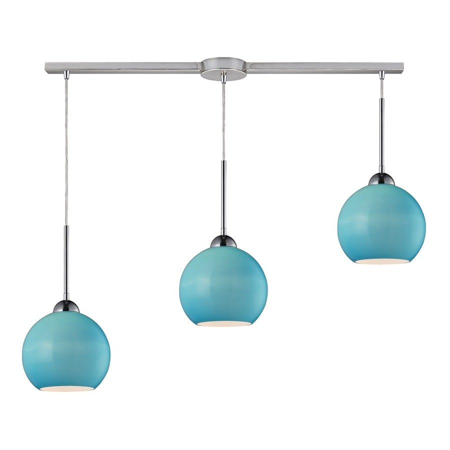 Westmore Lighting Swancott 10-in Polished Chrome and Aqua Glass Mini Tinted Glass Globe Pendant