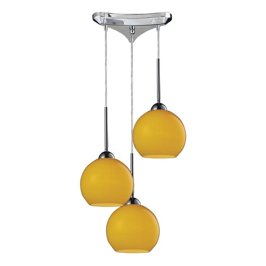 Westmore Lighting Swancott 10-in Polished Chrome and Lemon Glass Mini Tinted Glass Globe Pendant
