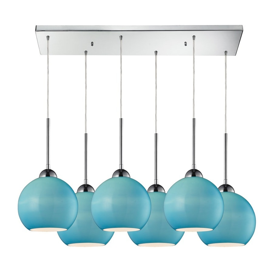 Westmore Lighting Swancott 30-in Polished Chrome and Aqua Glass Mini Tinted Glass Globe Pendant