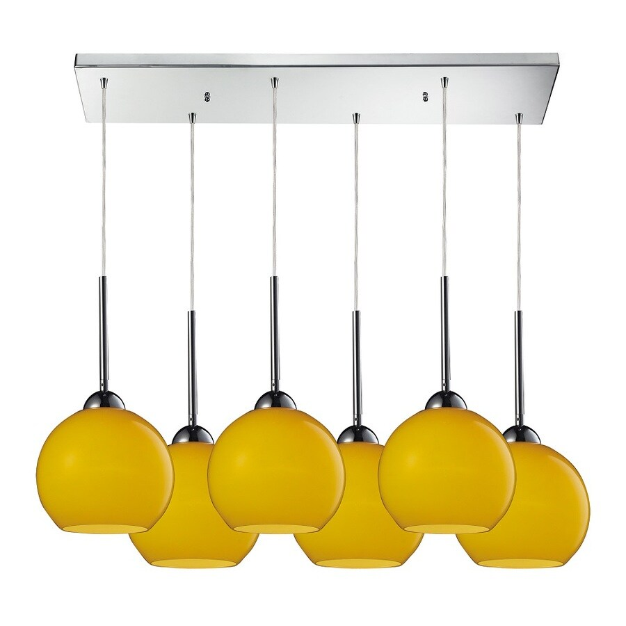 Westmore Lighting Swancott 30-in Polished Chrome and Lemon Glass Mini Tinted Glass Globe Pendant