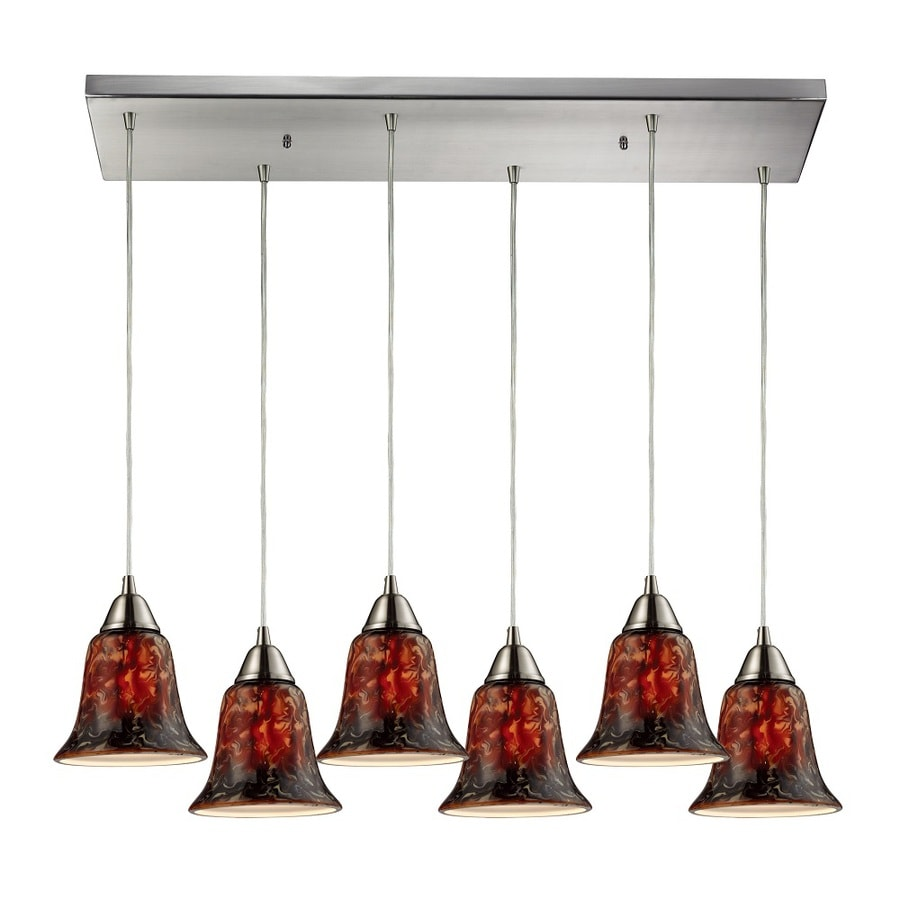 Westmore Lighting Plumas 30-in Satin Nickel and Fudge Glass Mini Tinted Glass Bell Pendant