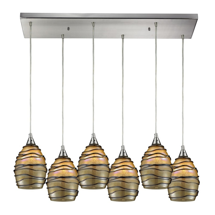 Westmore Lighting Keswick 30-in Satin Nickel and Keswick Glass Mini Tinted Glass Teardrop Pendant