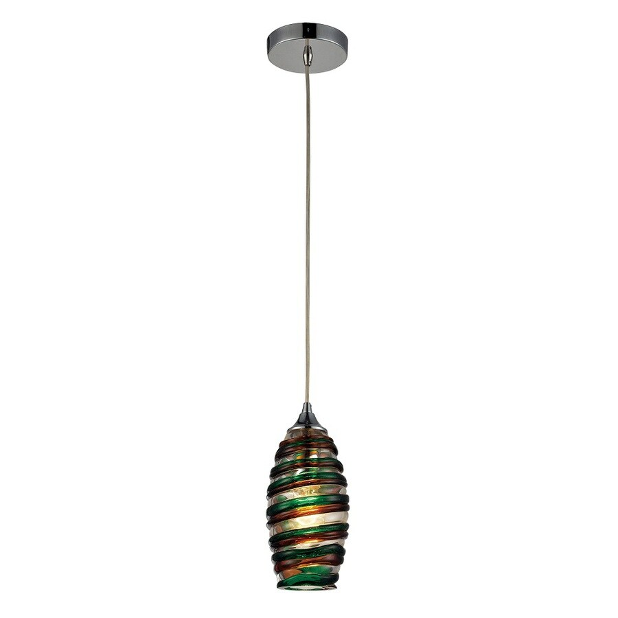 Westmore Lighting Nuvian 5-in Polished Chrome and Candy Glass Mini Tinted Glass Teardrop Pendant