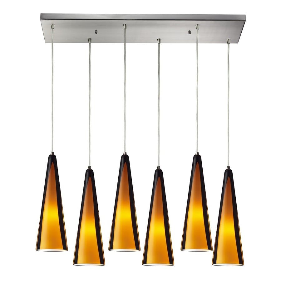 Westmore Lighting Bruneau 30-in Satin Nickel and Gobi Glass Mini Tinted Glass Cone Pendant