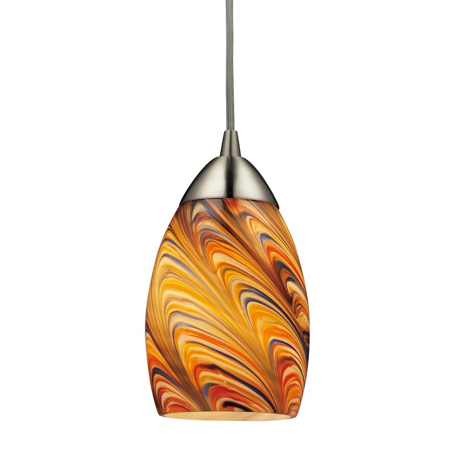 Westmore Lighting Umbrial 4-in Satin Nickel and Rainbow Glass Mini Tinted Glass Teardrop Pendant