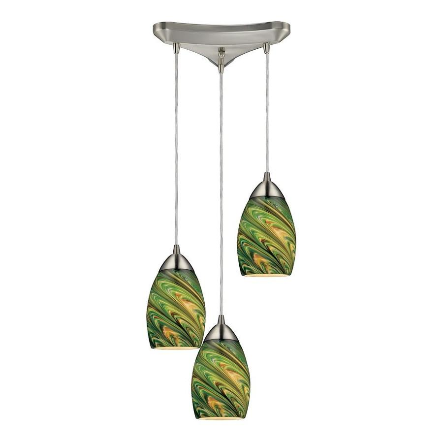 Westmore Lighting Umbrial 10-in Satin Nickel and Evergreen Glass Mini Tinted Glass Teardrop Pendant