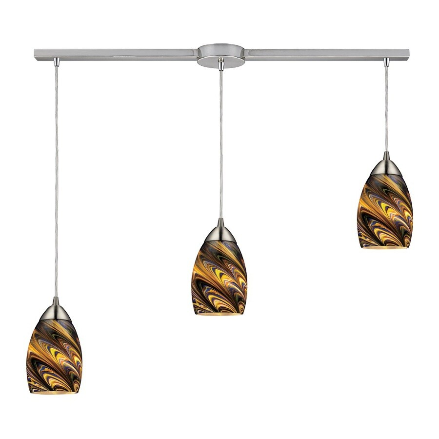 Westmore Lighting Umbrial 10-in Satin Nickel and Celestial Glass Mini Tinted Glass Teardrop Pendant