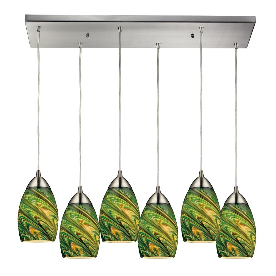 Westmore Lighting Umbrial 33-in Satin Nickel and Evergreen Glass Mini Tinted Glass Teardrop Pendant