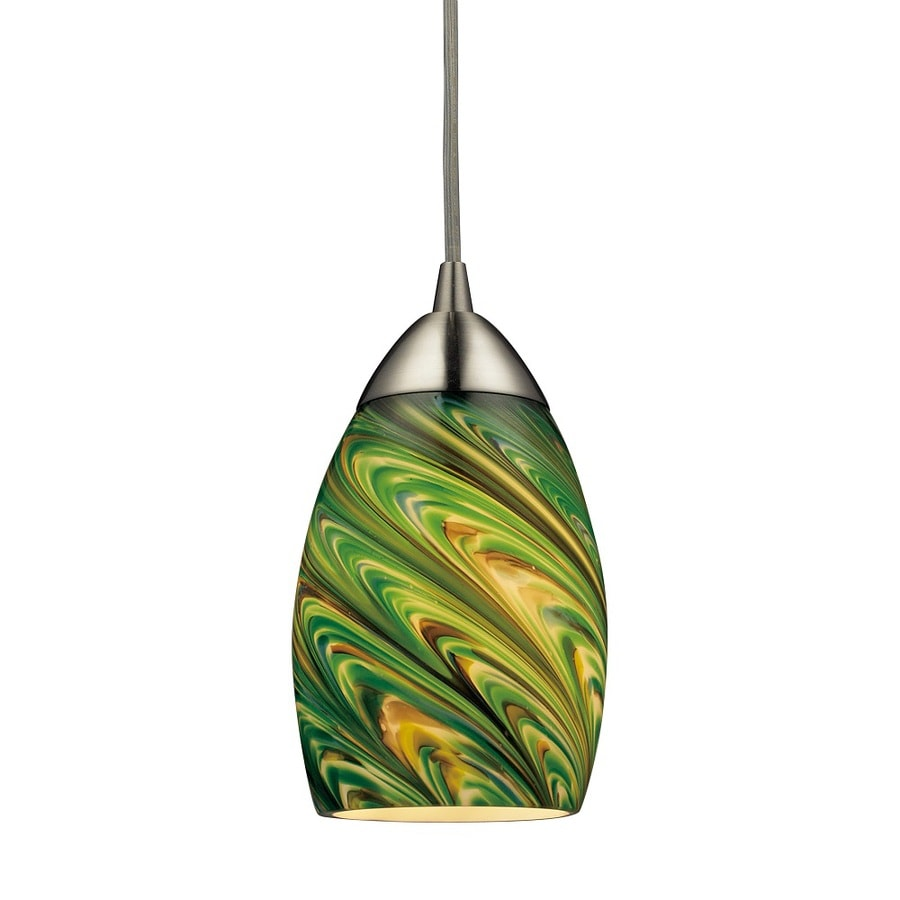 Westmore Lighting Umbrial 4-in Satin Nickel and Evergreen Glass Mini Tinted Glass Teardrop Pendant
