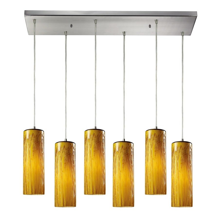 Westmore Lighting Thurso 30-in Satin Nickel and Maple Amber Glass Mini Tinted Glass Cylinder Pendant