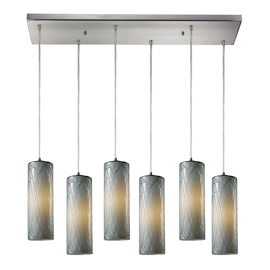 Westmore Lighting Thurso 30-in Satin Nickel and Maple Dusk Glass Mini Tinted Glass Cylinder Pendant