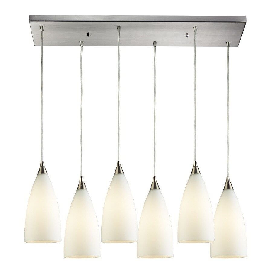 Westmore Lighting Helmsdale 30-in Satin Nickel and White Glass Mini Tinted Glass Teardrop Pendant