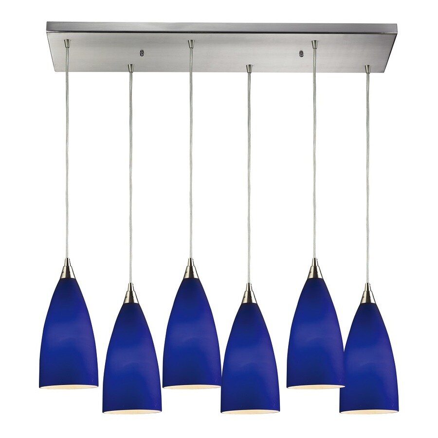 Westmore Lighting Helmsdale 30-in Satin Nickel and Royal Blue Glass Mini Tinted Glass Teardrop Pendant