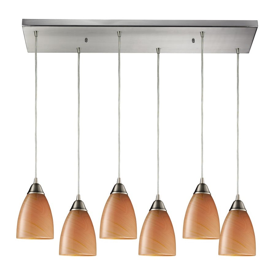 Westmore Lighting Undara 30-in Satin Nickel and Sandy Glass Mini Tinted Glass Teardrop Pendant