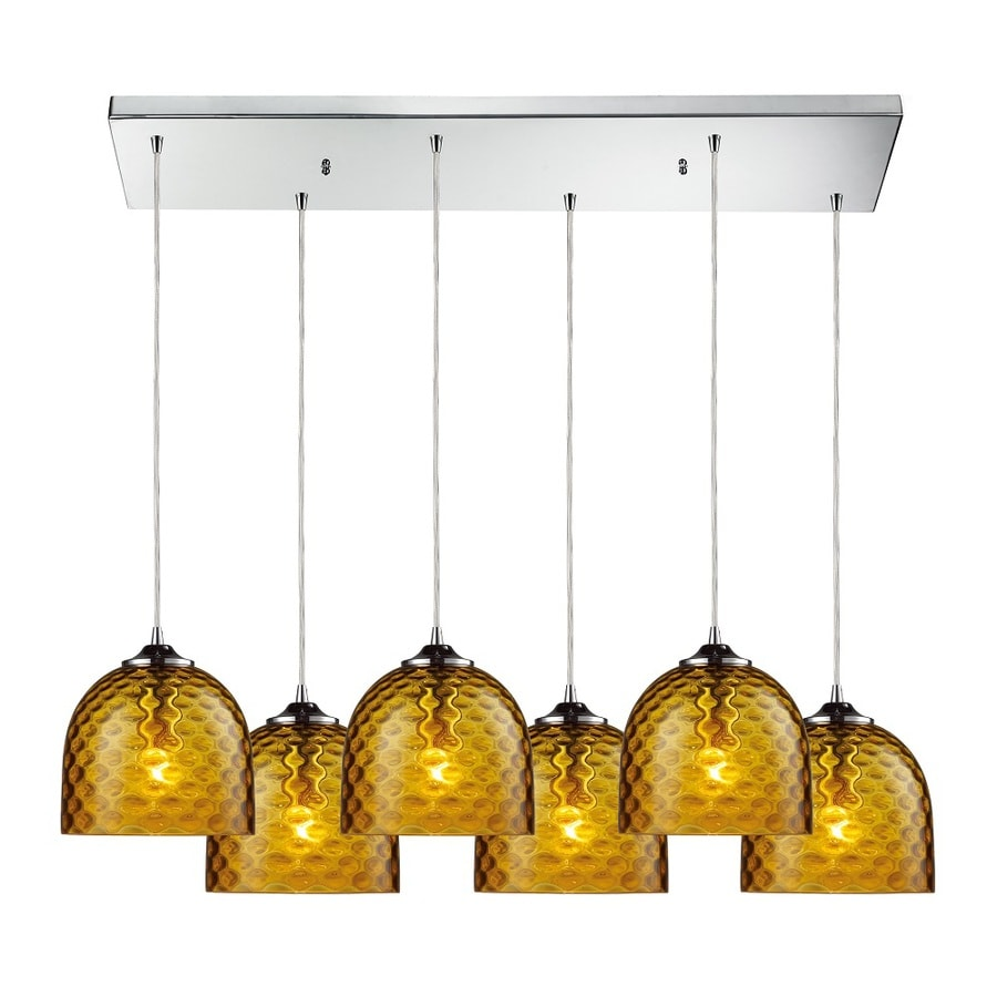 Westmore Lighting Avia 30-in Polished Chrome and Amber Glass Mini Tinted Glass Globe Pendant
