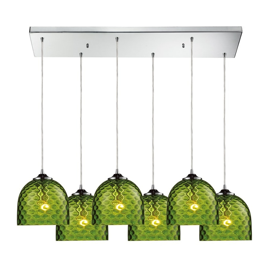Westmore Lighting Avia 30-in Polished Chrome and Green Glass Mini Tinted Glass Globe Pendant
