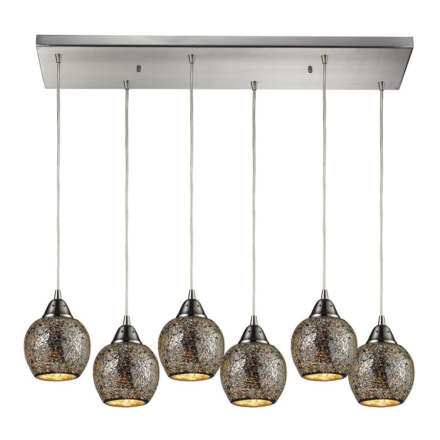 Westmore Lighting Cleona 30-in Satin Nickel and Silver Glass Mini Tinted Glass Teardrop Pendant