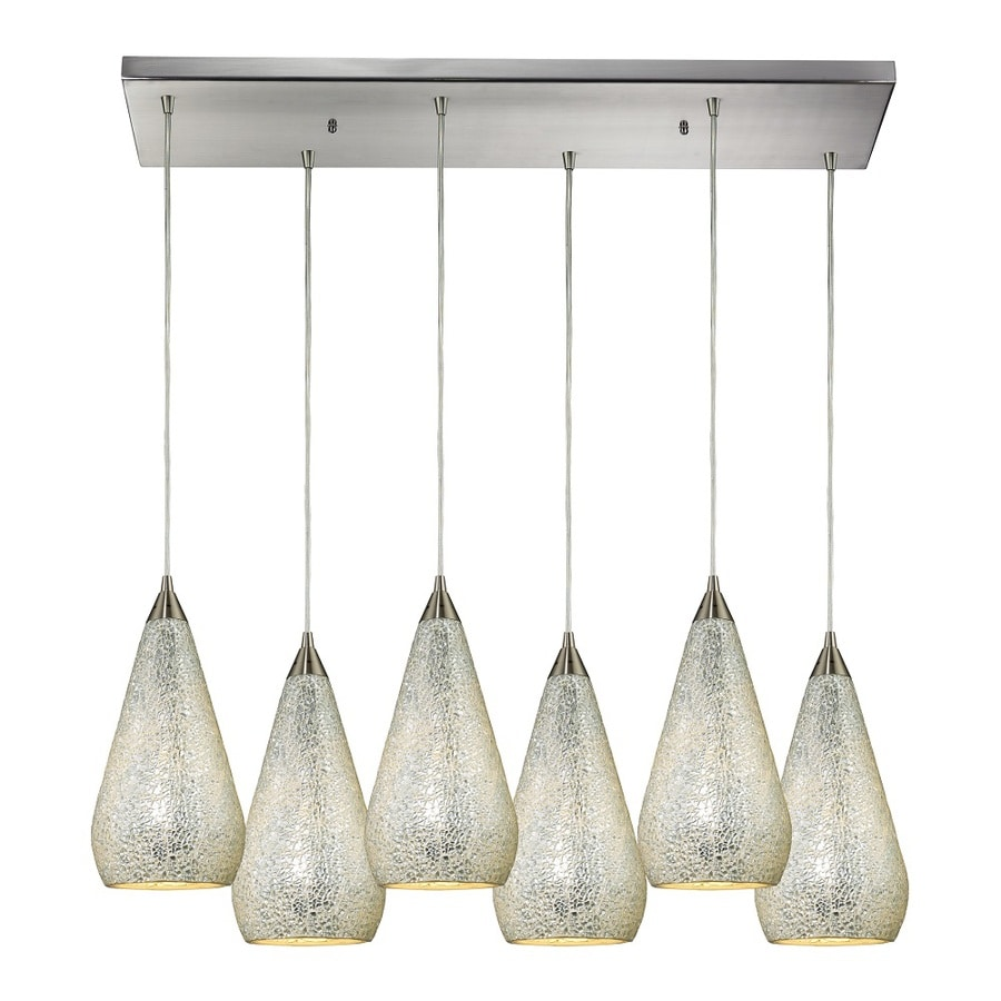Westmore Lighting Clavella 30-in Satin Nickel and Silver Glass Mini Tinted Glass Teardrop Pendant