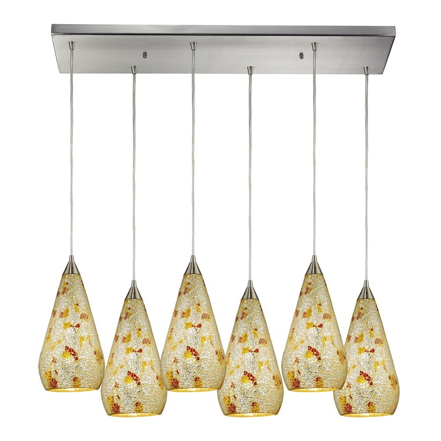 Westmore Lighting Clavella 30-in Satin Nickel and Silver Flame Glass Mini Tinted Glass Teardrop Pendant