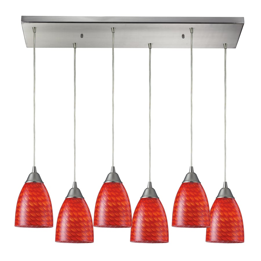 Westmore Lighting Nobello 30-in Satin Nickel and Scarlet Glass Mini Tinted Glass Teardrop Pendant