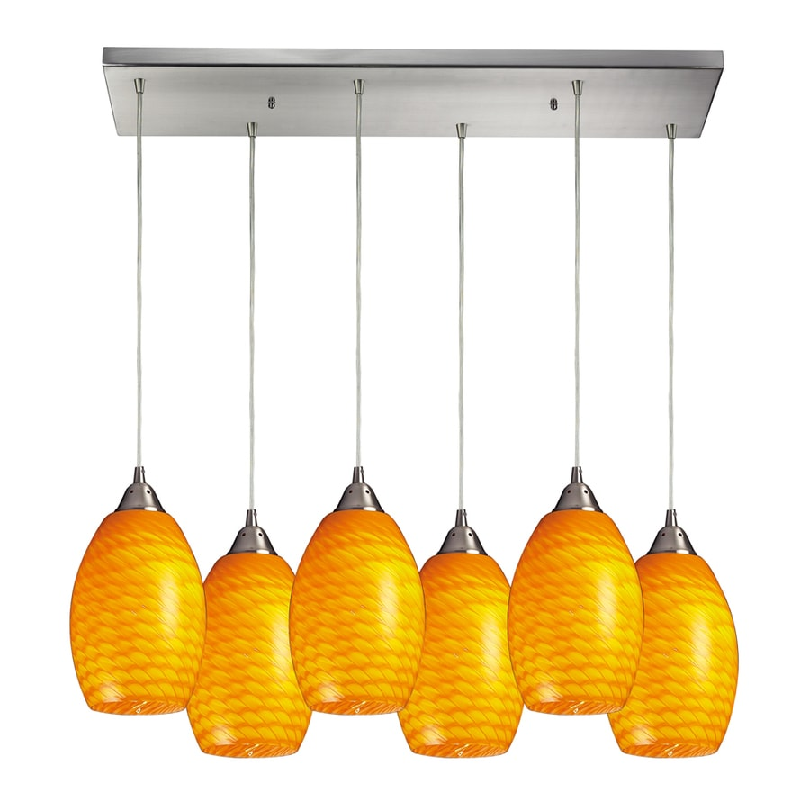 Westmore Lighting Pirellia 30-in Satin Nickel and Canary Glass Mini Tinted Glass Teardrop Pendant