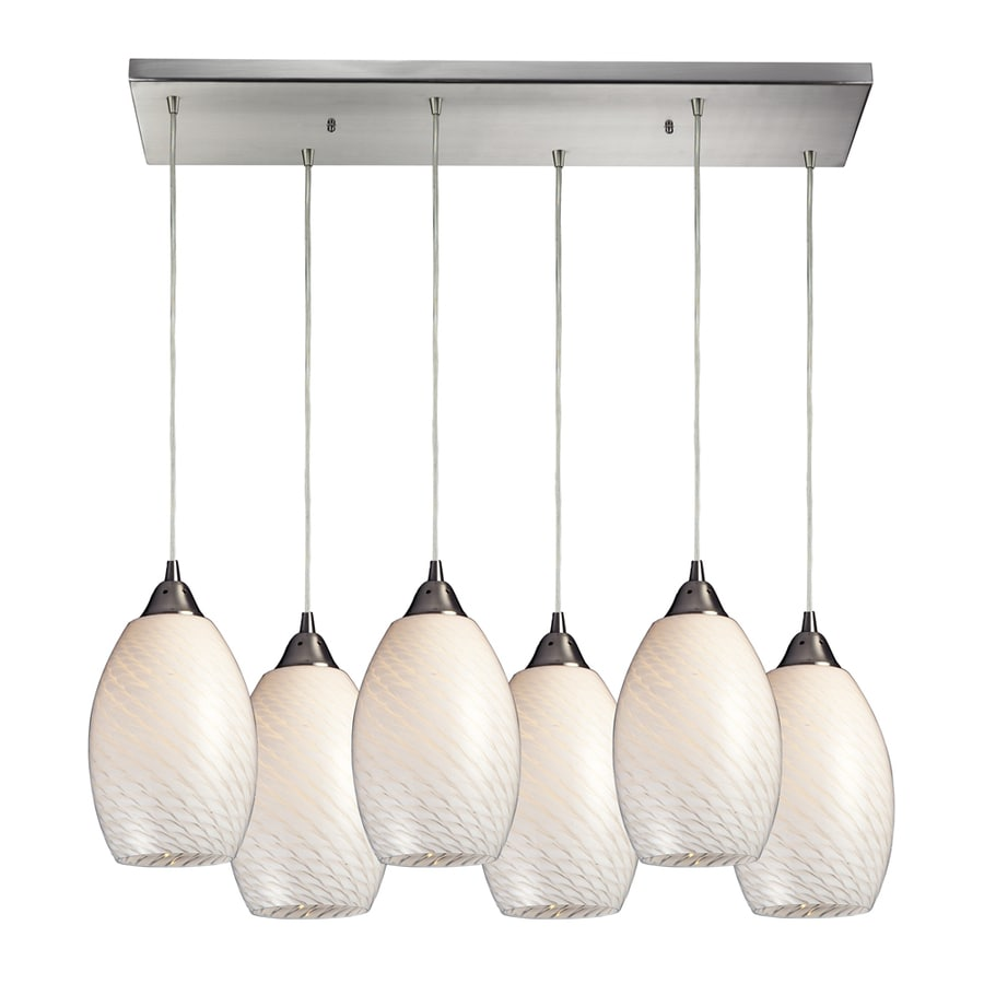 Westmore Lighting Pirellia 30-in Satin Nickel and White Swirl Glass Mini Tinted Glass Teardrop Pendant