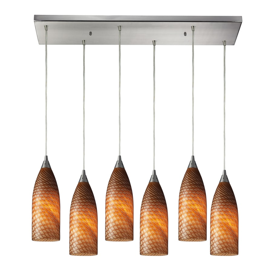 Westmore Lighting Dorelo 30-in Satin Nickel and Cocoa Glass Mini Tinted Glass Teardrop Pendant