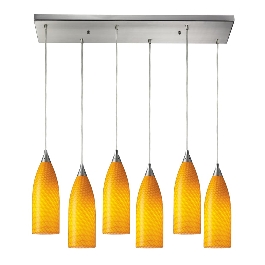 Westmore Lighting Dorelo 30-in Satin Nickel and Canary Glass Mini Tinted Glass Teardrop Pendant
