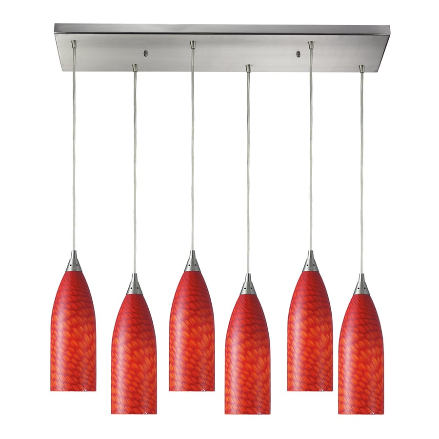 Westmore Lighting Dorelo 30-in Satin Nickel and Scarlet Glass Mini Tinted Glass Teardrop Pendant