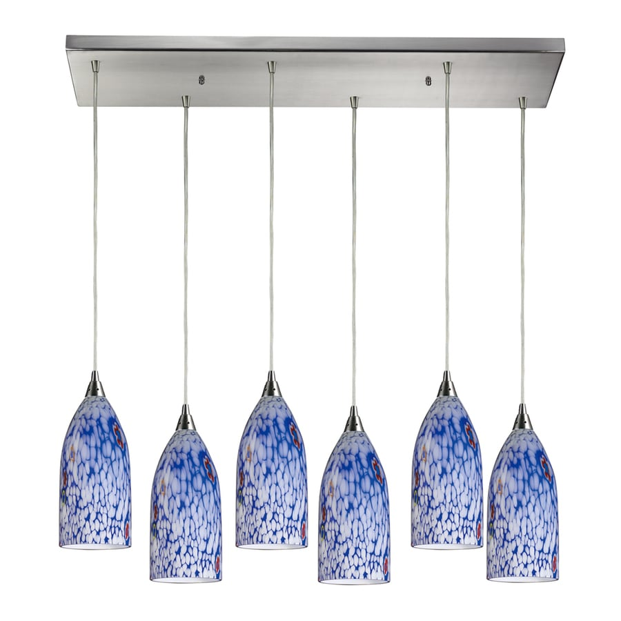 Westmore Lighting Novia 30-in Satin Nickel and Blue Glass Mini Tinted Glass Pendant