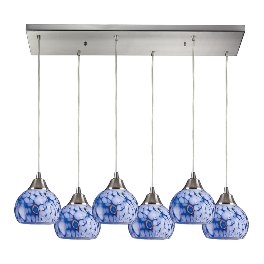 Westmore Lighting Lemora 30-in Satin Nickel and Blue Glass Mini Tinted Glass Globe Pendant